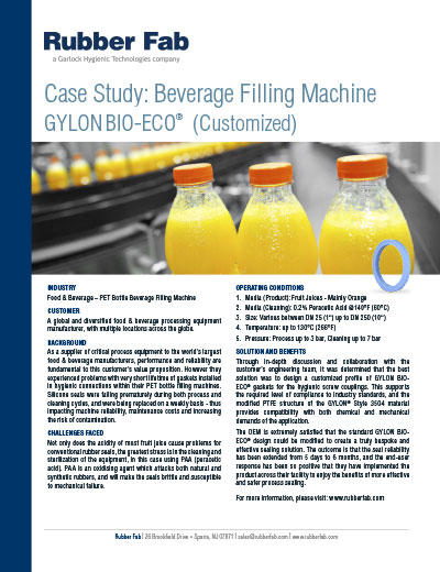 Custom GYLON BIO-ECO® Sanitary Gaskets in Beverage Filling