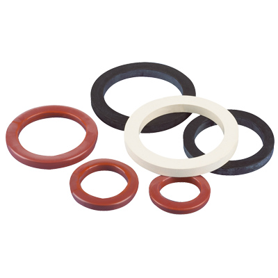 Group of black, white and red Camlock Style gaskets, the red ones are encapsulated