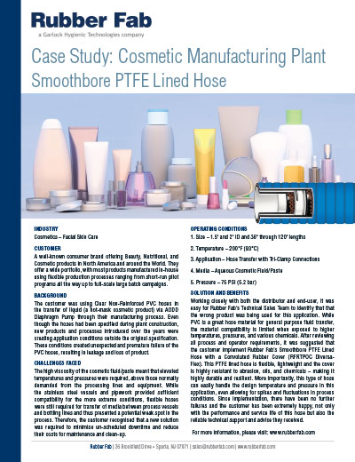 PTFE Lined Hose in Cosmetic Manufacturing