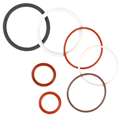Group of red, white, black and brown o-rings in different sizes