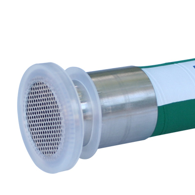 Stainless Steel Silicone Gauge Guard Protector protecting a hose fitting