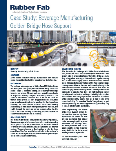 Golden Bridge Hose Support System in Beverage Manufacturing