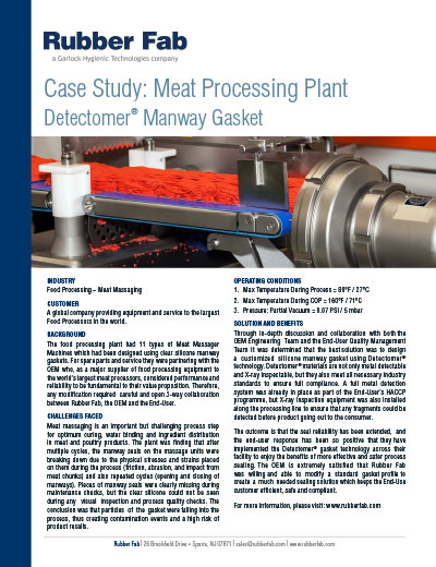Detectomer® Manway Gaskets in Meat Processing