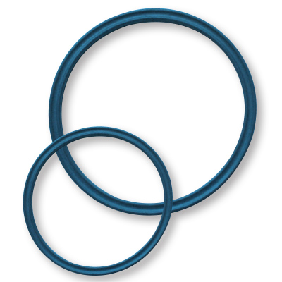Two blue metal detectable, x-ray inspectable quad style o-rings