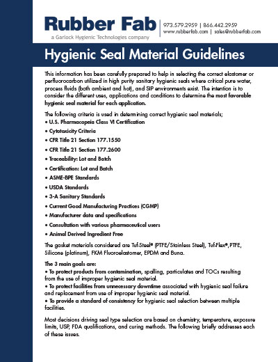 Sanitary Gasket Material Guidelines