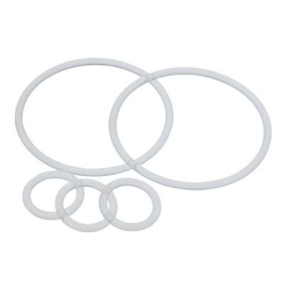 Group of clear silicone o-rings in different sizes
