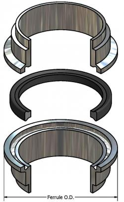 Drawing of an APC gasket between two ferrules