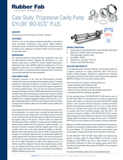GYLON® BIO-ECO® Plus Gasket in a Progressive Cavity Pump