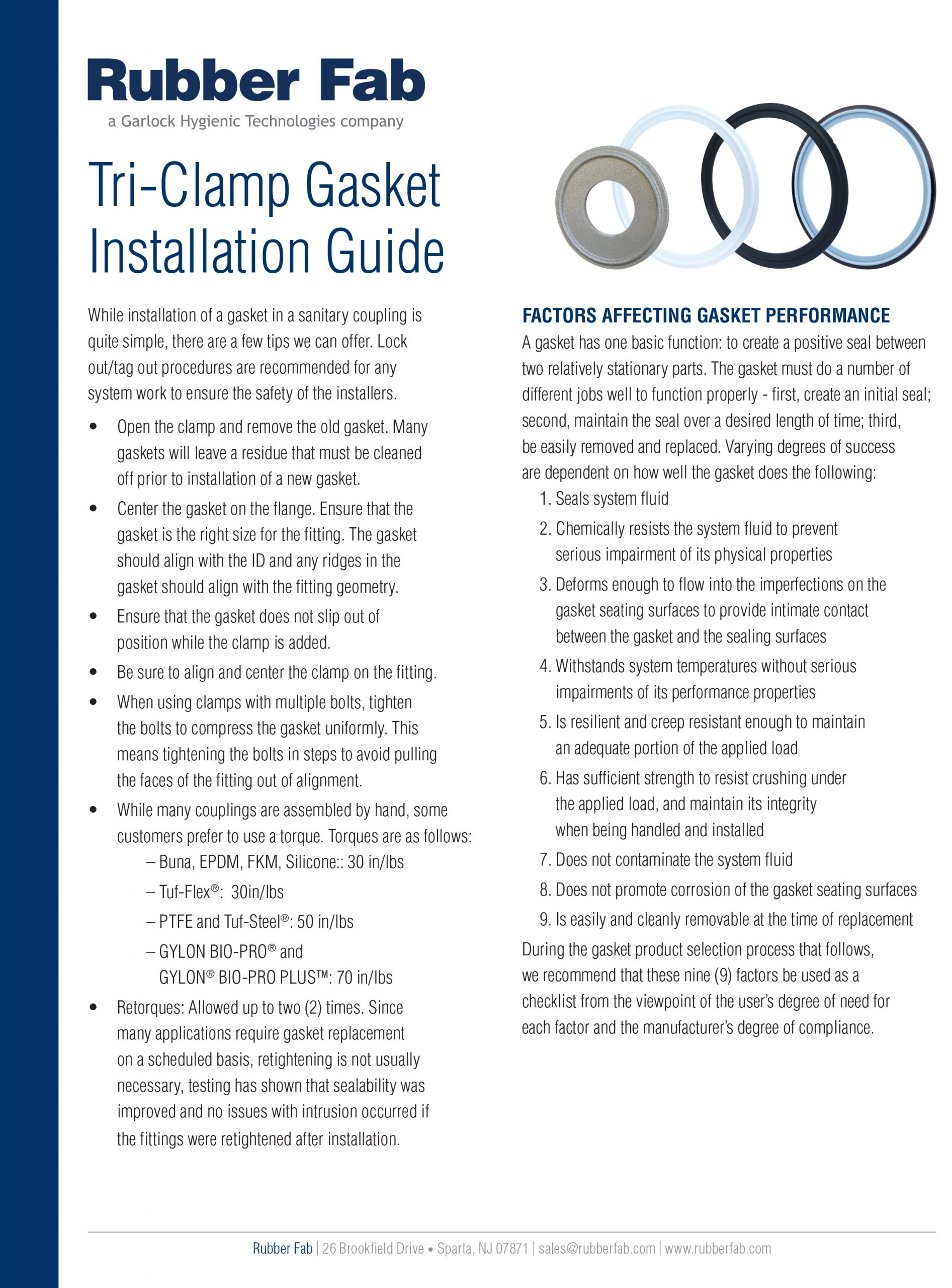 Gasket Installation Instructions